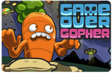 Image displaying the Game Over Gopher title slide and the carrot character.