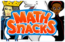 Image displaying the Math Snacks logo as well as three characters.