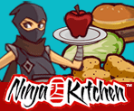 Image of ninja holding an apple on a tray with other foods in the background