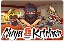 Image of a Ninja character carrying an apple on a tray with other food behind.