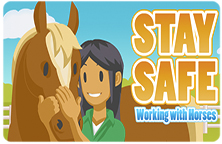 Image of the Stay Safe Working with Horses title slide featuring a horse and the main character.